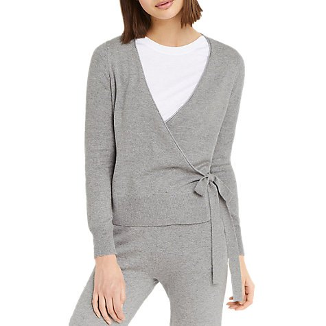 two-piece gray wrap jacket with matching jogger pants