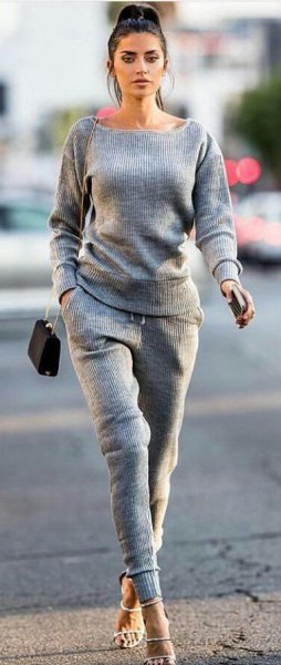 two-piece set with a gray sweater to match the sweatpants