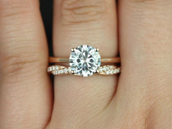 two rings wedding engagement gold