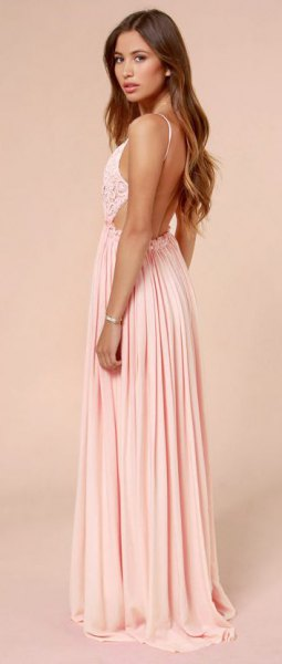 two-tone backless floor-length pleated dress