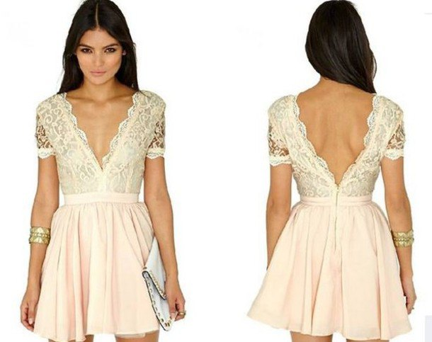 two-tone cream-colored mini pillow dress with deep V-neckline and deep back