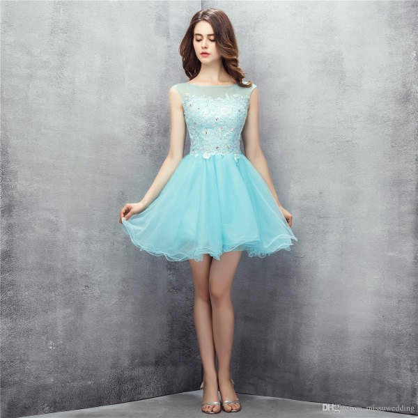 two-tone light blue tulle dress