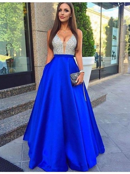 two tinted silver sequins and royal blue cotton suit and long dress with flare