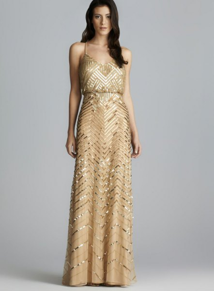 V-neck ruched waist gold maxi dress