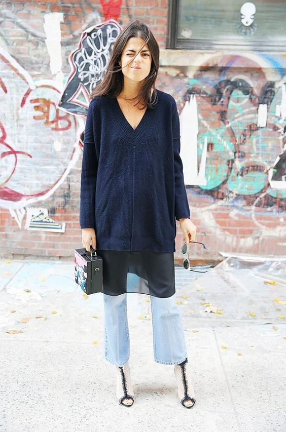 V-neck sweater layers