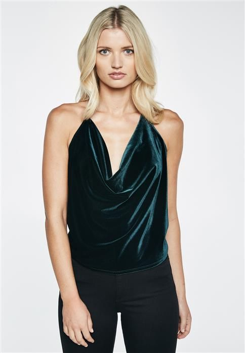 Velvet top with a waterfall neckline
