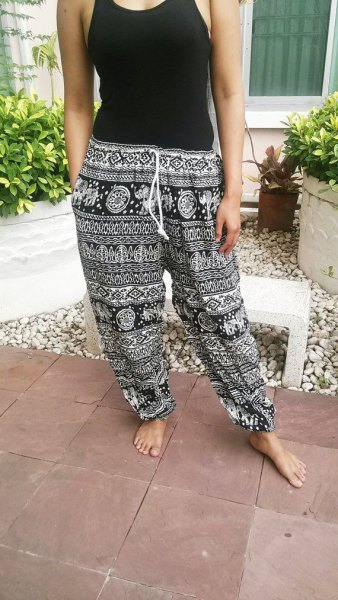 Vest top with black and white beach pants with tribal print
