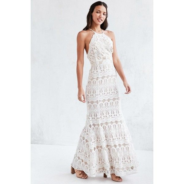 Glamorous Lace Halter Maxi Dress ($230) ❤ liked on Polyvore .