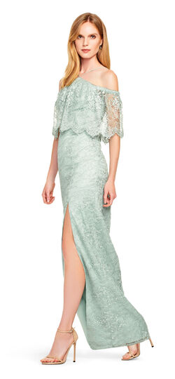 Lace Halter Dress with Off the Shoulder Sleeves - Aidan Matt