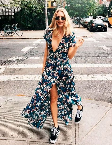 14 Chic Ways to Wear Navy Floral Dress: Spring/Fall Outfits - FMag.c