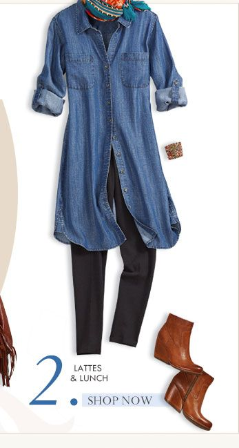 similar denim dress from The Gap - worn with leggings and boots .