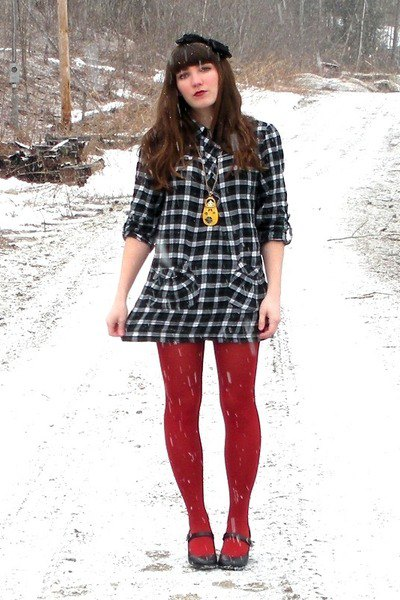 wearing with red leggings