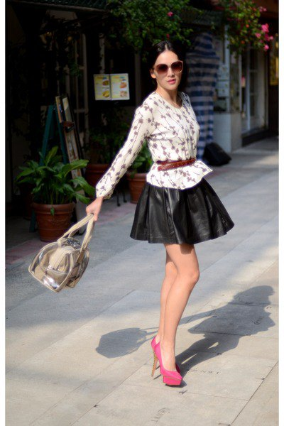 white and black chiffon blouse with belt and leather mini skirt