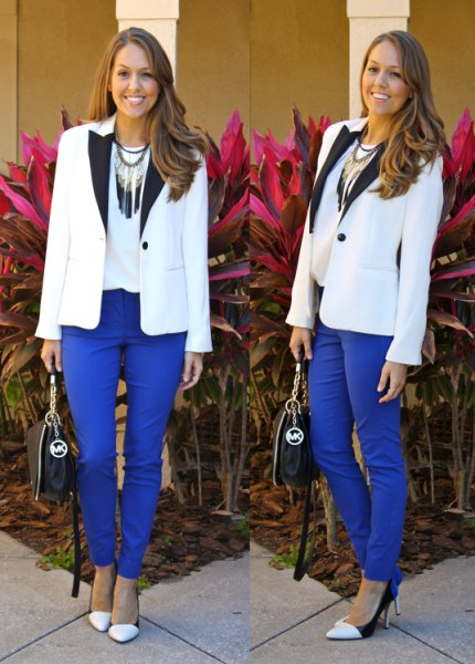 white and black blazer with royal blue ankle pants