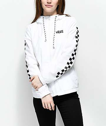 white-black checked windbreaker with dark jeans