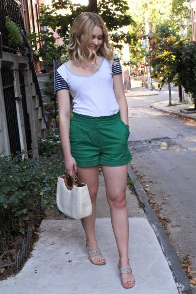 white and black color-block t-shirt with high-waisted mini-shorts with elastic waist