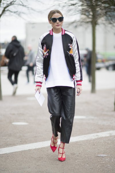 white and black embroidered bomber jacket knit sweater