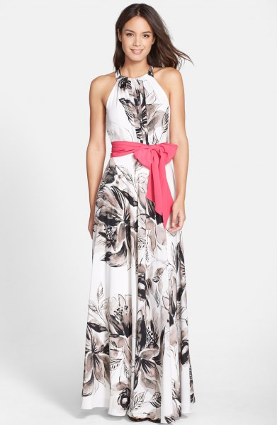 white and black floral waistband maxi dress with floral pattern