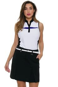 sleeveless polo shirt with white and black graphics and mini skirt