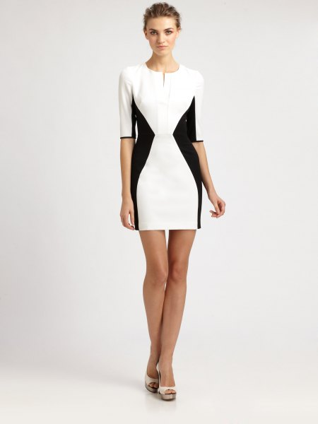 white and black bodycon mini dress with half sleeves