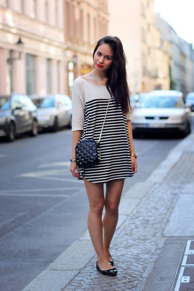 white and black horizontal striped mini shift dress with half sleeves and ballerinas