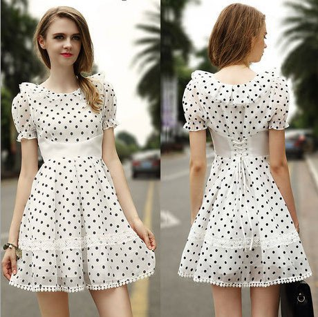 white and black polka dot baby doll dress