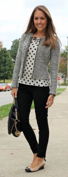 Tweed cardigan with a white and black polka dot blouse