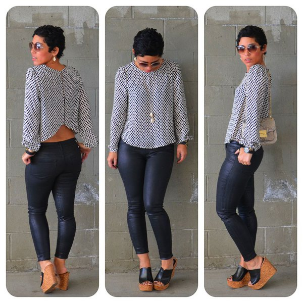 white and black polka dot blouse with dotted skinny jeans