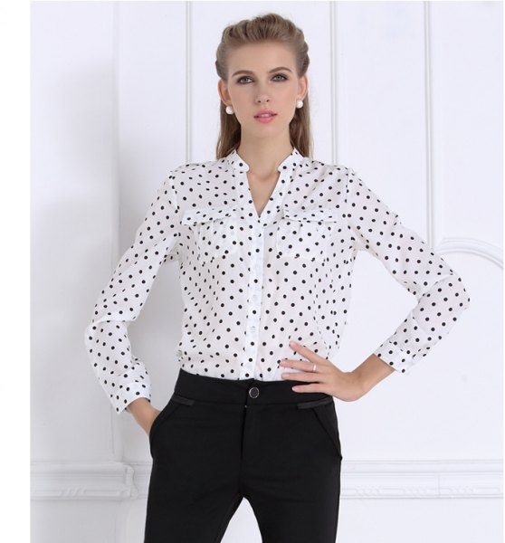 white and black polka dot shirt without a collar with chinos