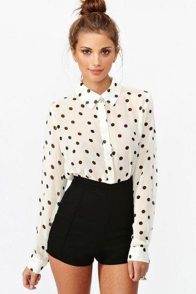 white and black polka dot shirt with tall mini shorts