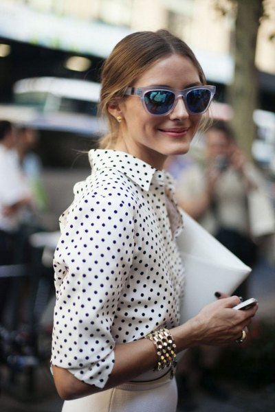 white and black polka dot shirt