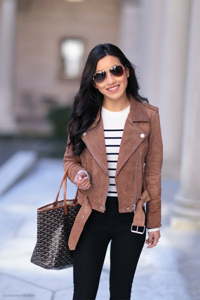 white and black striped knitted sweater black jeans