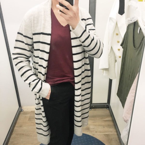 white and black striped longline cardigan with gray V-neck