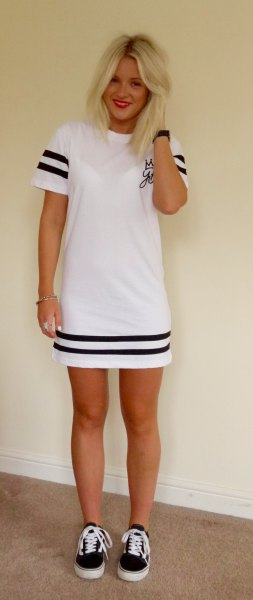 white and black striped shirt dress with canvas sneakers