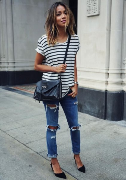 white and black striped T-shirt with skinny jeans and leather shoulder bag