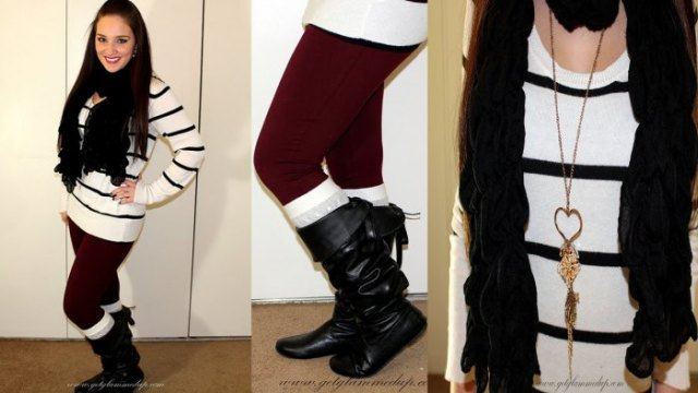 white and black striped tunic sweater with burgundy leggings and high boots