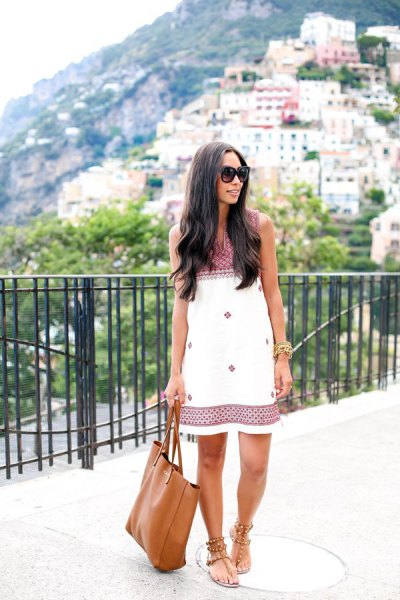 white and black tribal printed shift dress with thong sandals