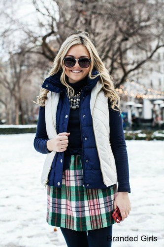 white and blue double vest with black checked skater skirt