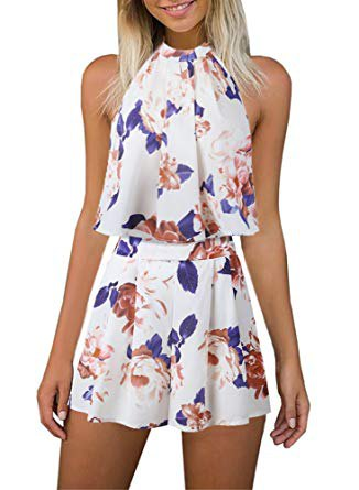 white and blue chiffon top with floral pattern and matching high-waisted shorts