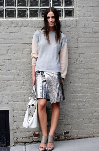 white and blue long-sleeved sweater made of metallic wrap-around skirt
