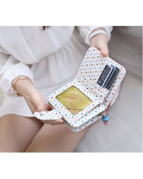 white and blue dotted mini wallet with blouse and mini chiffon skirt