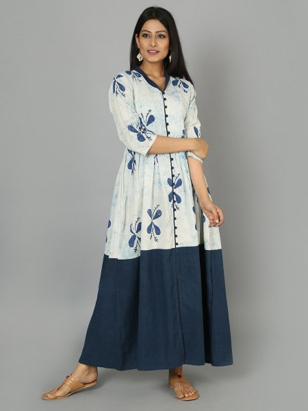 white and blue flared maxi dress with three-quarter sleeves