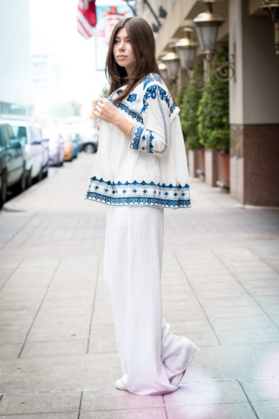 white and blue cardigan with tribal print