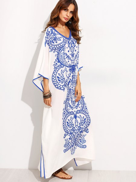 white and blue maxi dress with tribal print