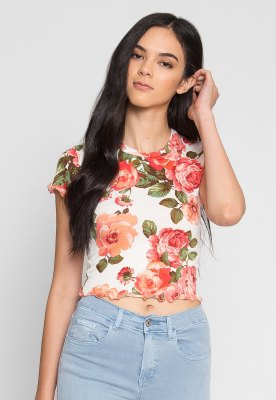 white and blushing pink floral short t-shirt and light blue jeans