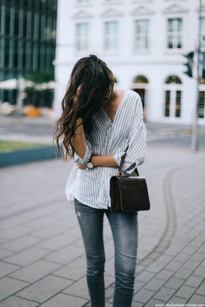 white and gray oversized pinstripe shirt jeans