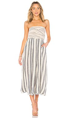 white and gray striped midi tube dress with a relaxed fit