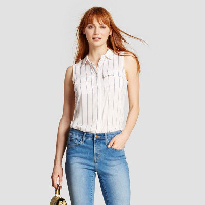 white and gray striped shirt blue washed jeans