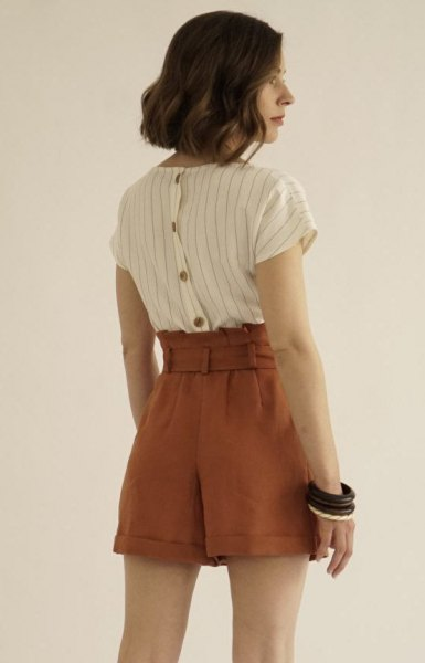 white-gray striped shirt with brown vintage high-waist shorts