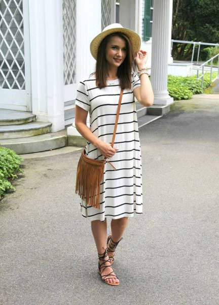 white-gray striped short-sleeved midi shift dress with strappy summer sandals